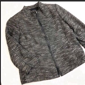 Eileen Fisher Zipper Jacket with Real Leather Trim